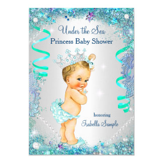 Blue Under The Sea Princess Baby Shower Blonde Card