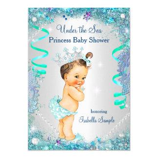 Blue Under The Sea Princess Baby Shower Brunette Card