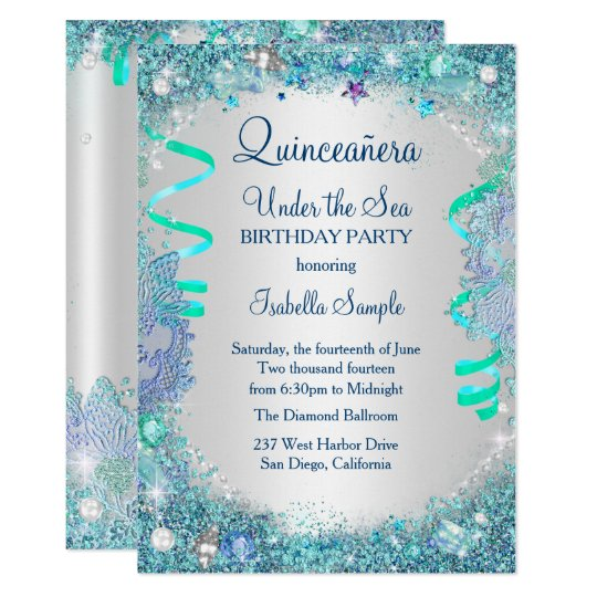 Blue Under The Sea Quinceanera 15th Birthday Party Card Zazzlecom