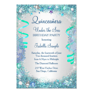 Blue Under The Sea Quinceanera 15th Birthday Party Card
