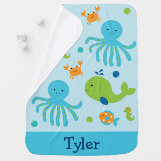 Blue Under The Sea Swaddle Blanket
