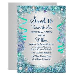 Blue Under The Sea Sweet 16 Invitation