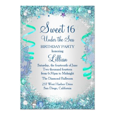 Zizzago Blue Under The Sea Sweet 16 Invitation