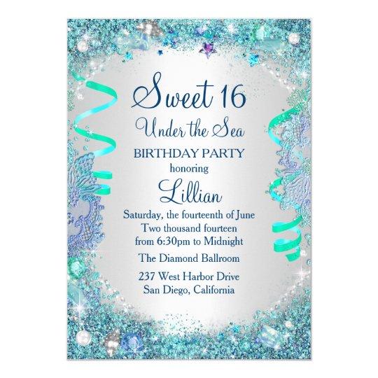 Under The Sea Sweet 16 Invitations Announcements – Blue Birthday Invitations