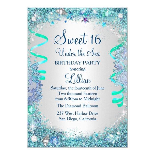 Blue Under The Sea Sweet 16 Invitation | Zazzle