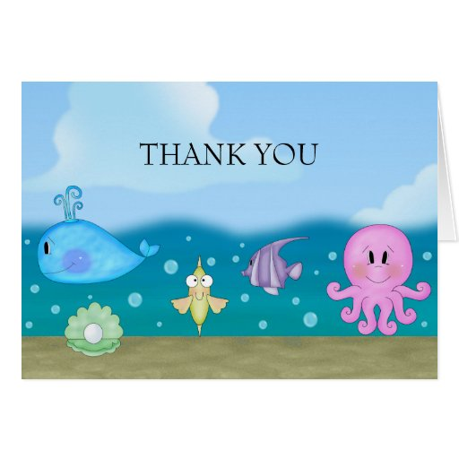 Blue Under The Sea Thank You Card