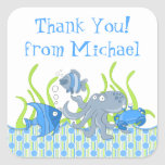 Blue Underwater Critters Birthday Favor Stickers