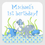 Blue Underwater Critters Birthday Stickers