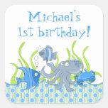Blue Underwater Critters Birthday Stickers