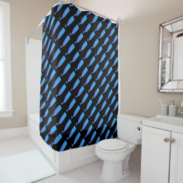 Beach Themed Blue underwater whales swimming up Thunder_Cove Shower Curtain