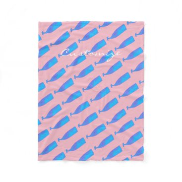 Beach Themed blue underwater whales Thunder_Cove pink Fleece Blanket