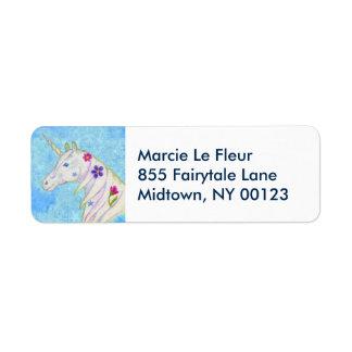 Blue Unicorn address label