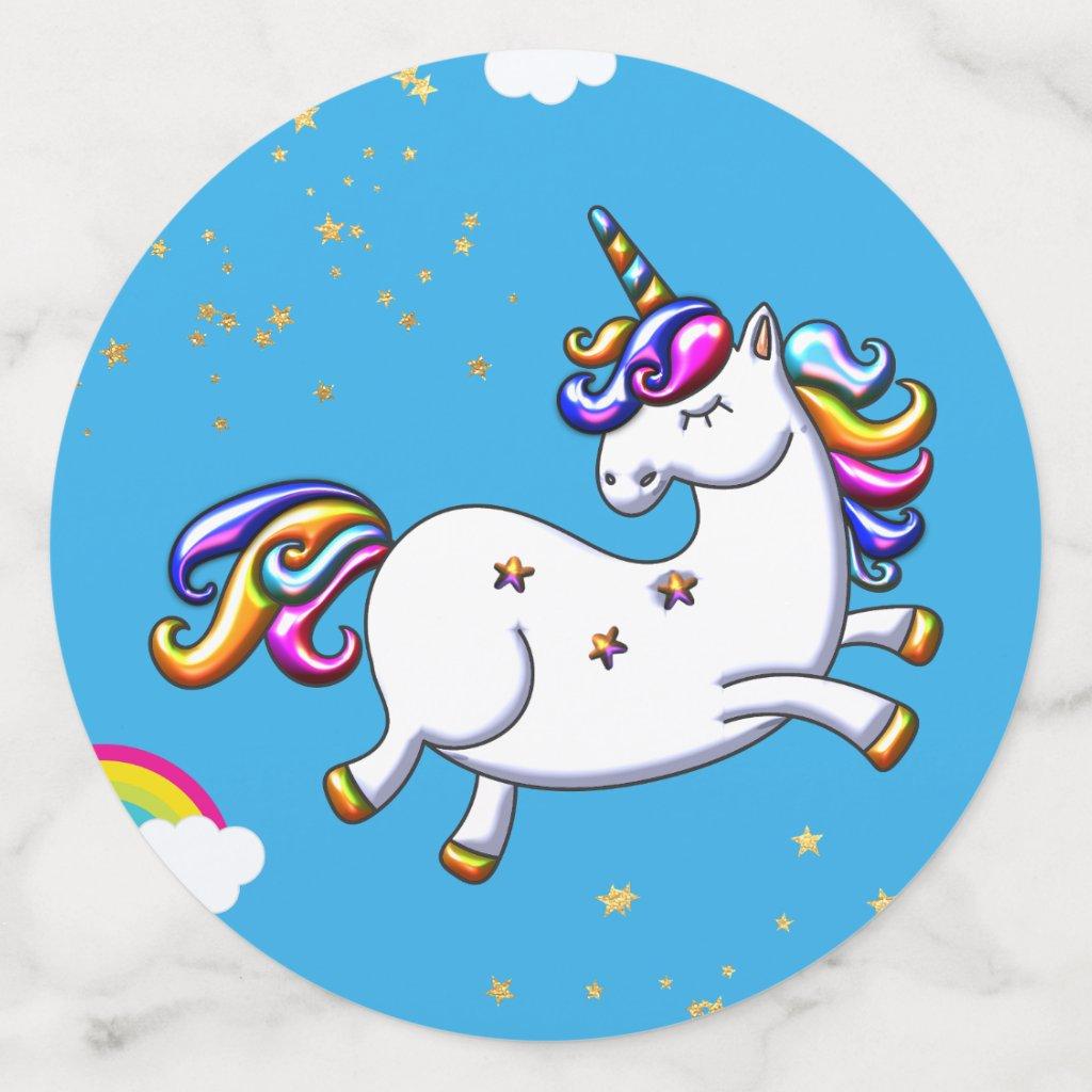 Blue Unicorn and Gold Stars Confetti