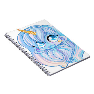 Blue Unicorn girl Spiral Notebook
