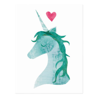 Blue Unicorn Magic with Heart Postcard