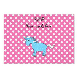 Blue unicorn on pink polkadots 3.5x5 paper invitation card