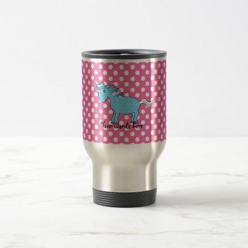 Blue unicorn on pink polkadots coffee mugs