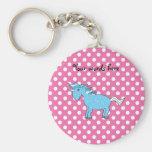 Blue unicorn on pink polkadots key chain