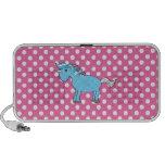 Blue unicorn on pink polkadots portable speakers