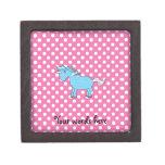 Blue unicorn on pink polkadots premium gift boxes
