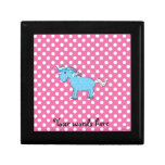 Blue unicorn on pink polkadots trinket boxes