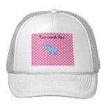 Blue unicorn on pink polkadots trucker hats
