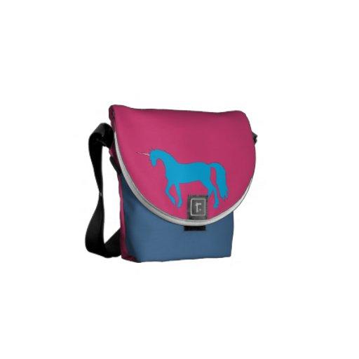 Blue Unicorn on Pink Rickshaw Mini Messenger Bag