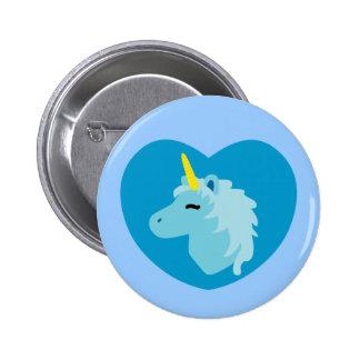 Blue Unicorn Pinback Buttons