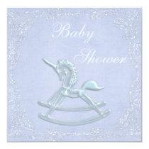Blue Unicorn Rocking Horse Glitter Baby Shower Invitation