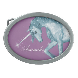 Blue Unicorn Sparkles Oval Belt Buckle