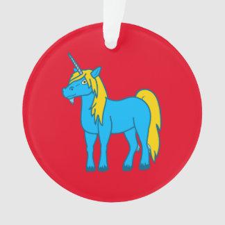 Blue Unicorn with Gold Mane Ornament
