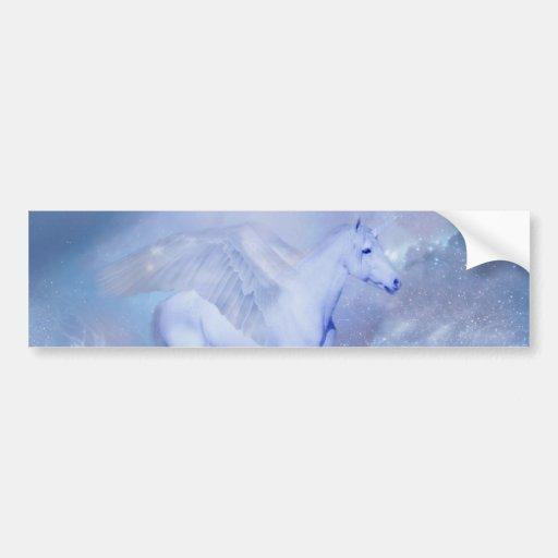 Blue Unicorn with wings fantasy Car Bumper Sticker