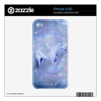 Blue Unicorn with wings fantasy Skins For iPhone 4S