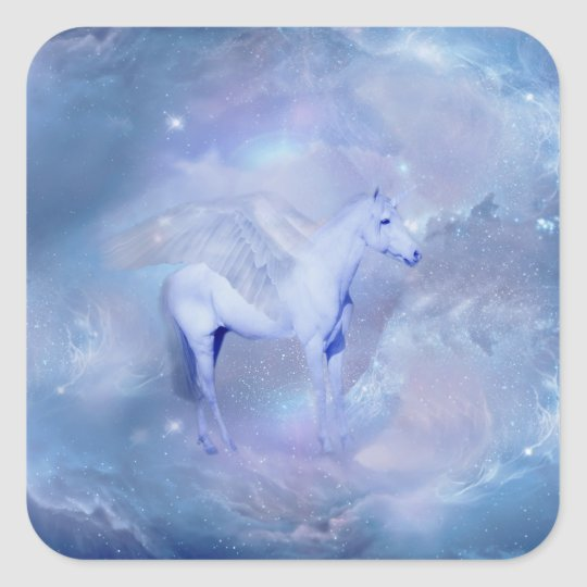Blue Unicorn with wings fantasy Square Sticker