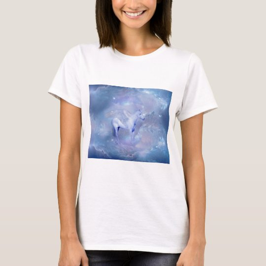 Blue Unicorn with wings fantasy T-Shirt