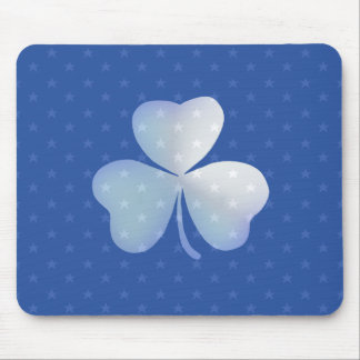 Blue unique and modern shamrock mouse pad