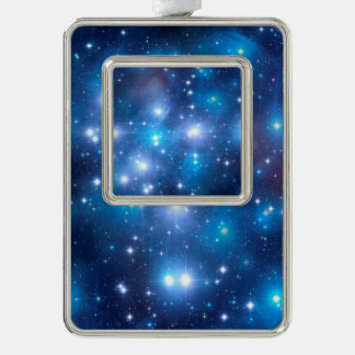 Blue Universe Stars + your ideas Silver Plated Framed Ornament