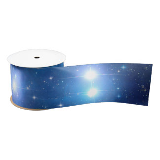 Blue Universe Stars + your ideas Satin Ribbon