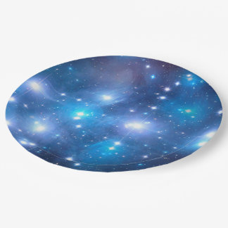 Blue Universe Stars + your ideas 9 Inch Paper Plate