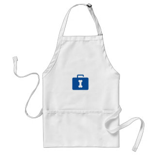 Blue unlocked briefcase with a bone keyhole adult apron