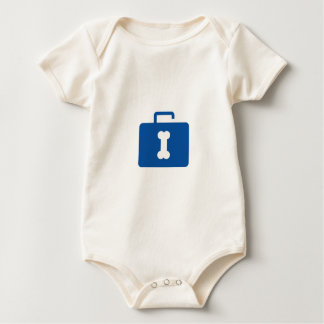 Blue unlocked briefcase with a bone keyhole baby bodysuit
