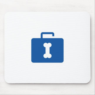 Blue unlocked briefcase with a bone keyhole mouse pad
