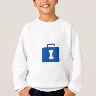 Blue unlocked briefcase with a bone keyhole sweatshirt