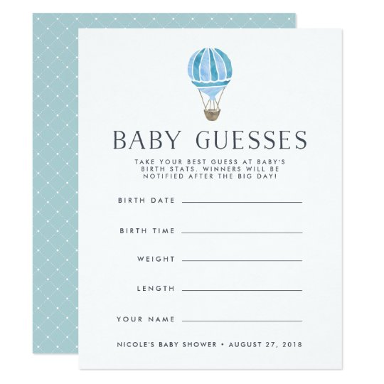 Blue | Up In The Air Baby Shower Guessing Game Invitation
