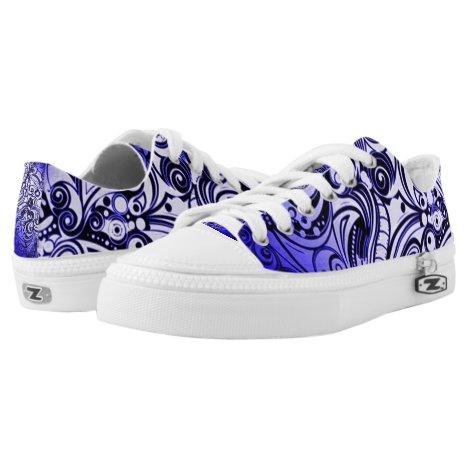 Blue Urban Graffiti Custom Zipz Low Top Kickers