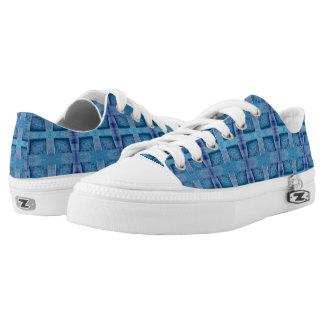 Blue Urban Squares pattern Design Low-Top Sneakers