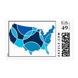 Blue USA map Postage Stamp