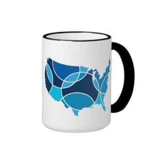 Blue USA map Ringer Coffee Mug