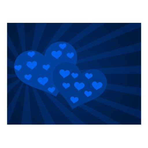 Blue Valentine Hearts Post Card