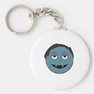 Blue vampire basic round button keychain